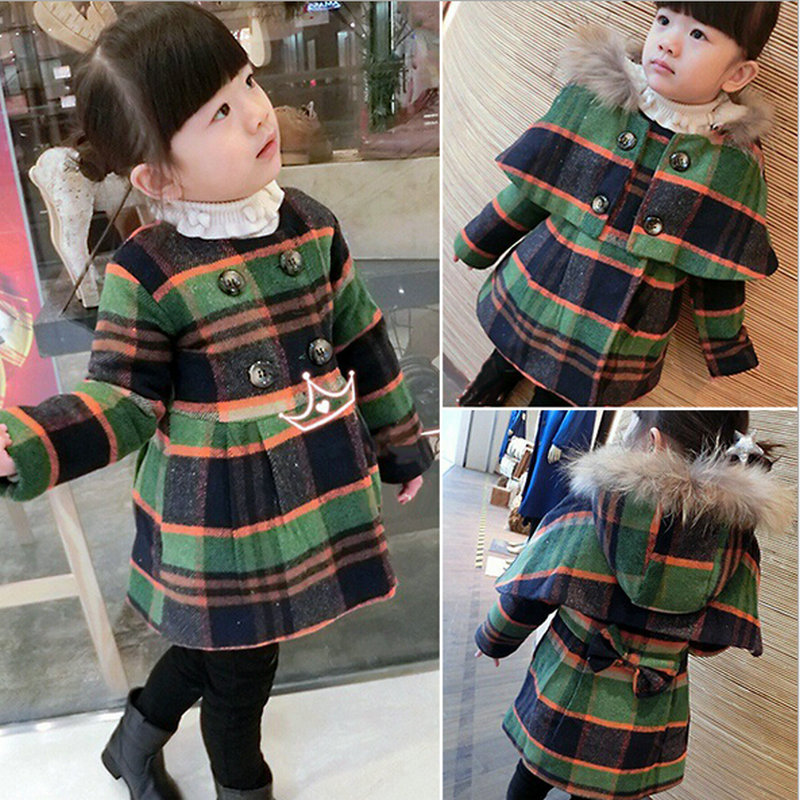 2015 New Girls Winter Warm Casual Clothes Double Breasted Wool Coat + Cape Set Fashion Plaid Poncho Jacket Cloak 2-8Y - TuTu's Holiday store