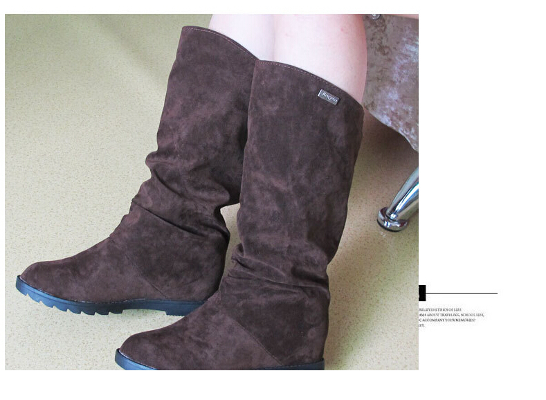 Autumn Winter Fashion Lady Boot Shoes Knight Boots Warm Short Plush Hidden Increasing Height Shaft Height Women Boots Sexy Botas