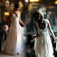 Buy Bay U Elegant Beach Boho Chiffon Wedding Dresses Summer Sexy Lace Appliques Chiffon Beach Wedding Dress 2017 Wedding Gowns for $115.00 in AliExpress store