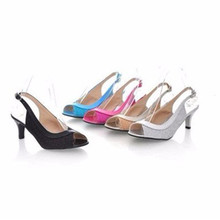 Lady Peep toe sexy big size45 46 Back strap plain Sequined Cloth patent leather thin med high heeled women shoes Pumps gold blue