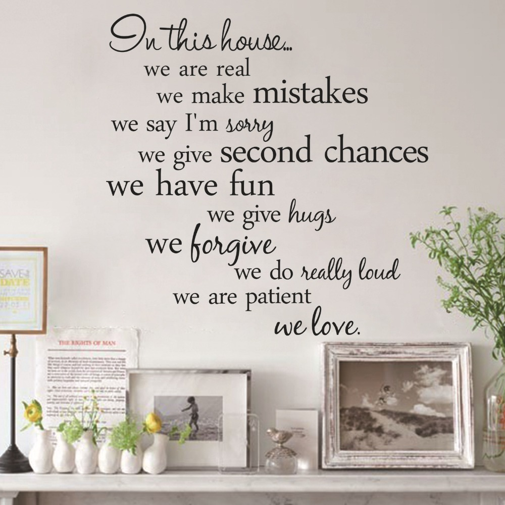 House rules vinyl quote wall stickers home decor living for Home decorating guidelines