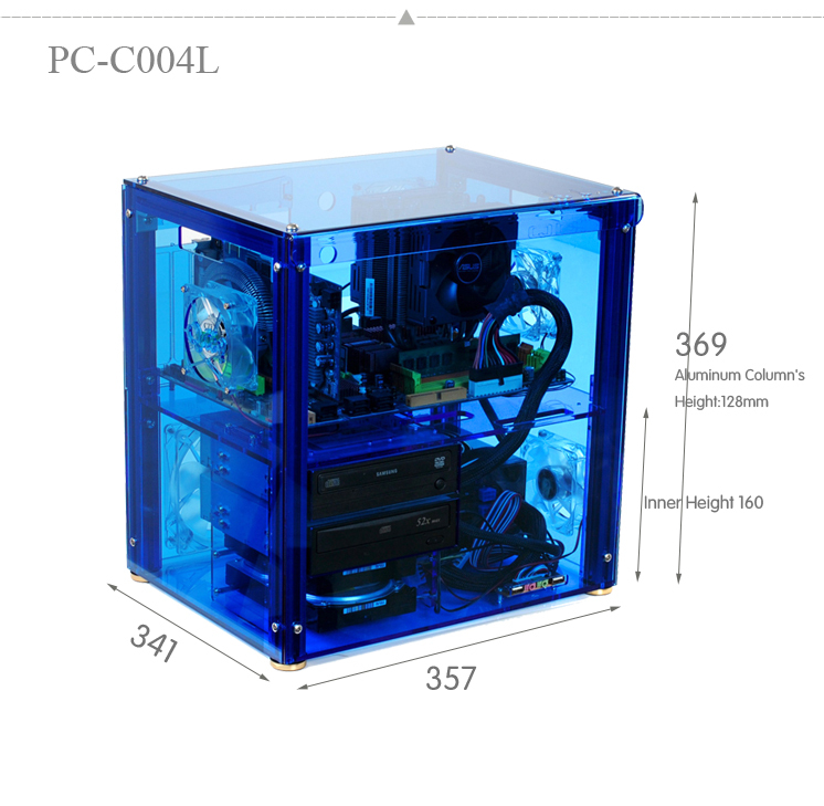 QDIY PC-C004L can Install 320mm Graphics Card Transparent Chassis Acrylic Personalized Water Cooled Computer Case(China (Mainland))