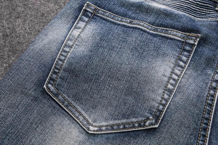 Men Jeans Hot Sale Slim Low 2015 New Punk Locomotive BalMan Jeans Embroidered Patch Tattered Knee-level Folding Laundry Mens