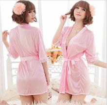 Female Sexy Temptation Women Dress V-neck Bathrobe Rayon Silk Sleepwear Pajamas Nightdress Robes kimono is woman soft lingerie(China (Mainland))