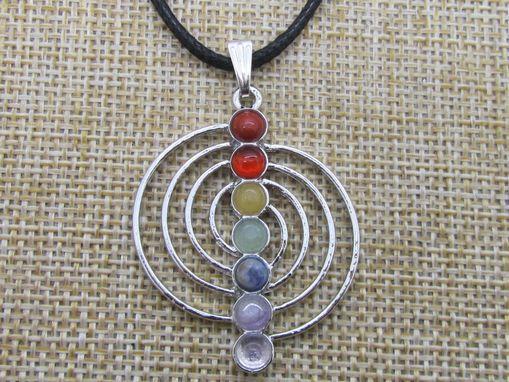 Free Shipping! 6 pcs/lot, Wholesale Metal Reiki Chakra Pendants, Stone Pendant, Spiral, 40 mm Size,7 Color Stones!(China (Mainland))