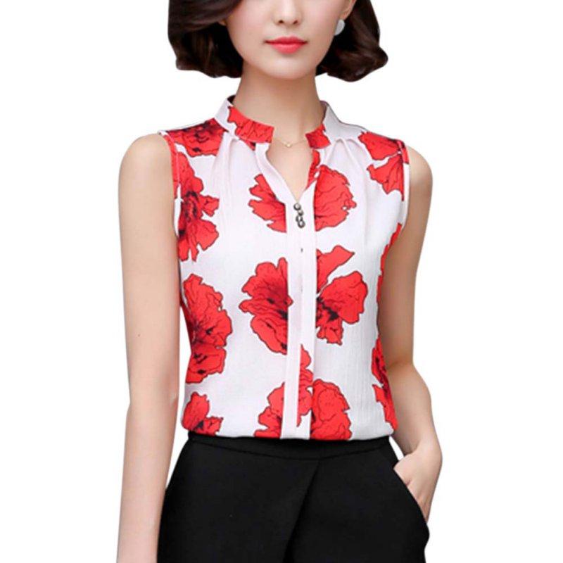 2016 Summer Chiffon Blouse Women Printed Sleeveless Blouse White Striped Blouses Shirts Female Office Shirt(China (Mainland))