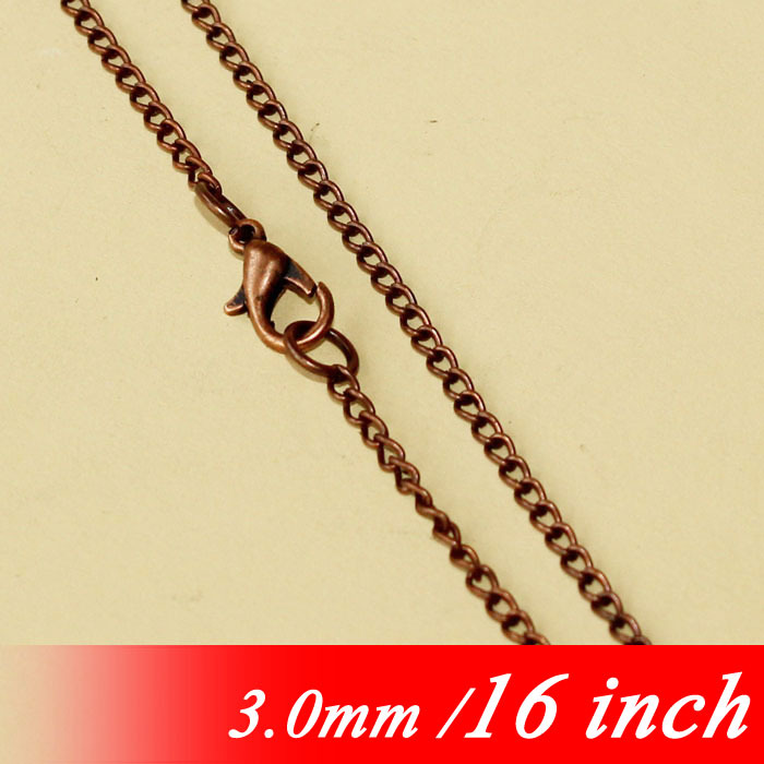 3mm Women Metal Jewelry Curb Links For Necklace Pendants 16 Vintage Copper Tone Fashion Chains With Lobster Clasps Accessories<br><br>Aliexpress