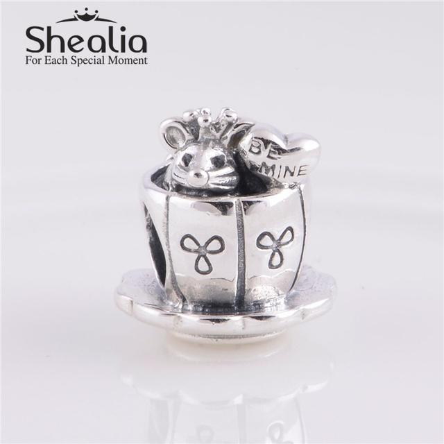 Аутентичные 925 стерлингового серебра очарованный мышь шарм бусины DIY ремесло бусины ювелирные изделия подходит европейский бренд браслеты и браслеты