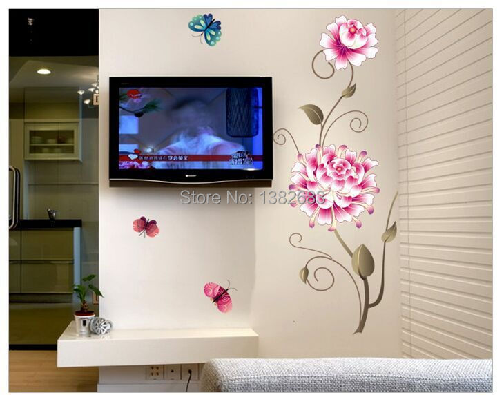 1set 50 70cm removable butterfly love flowers wall sticker for Home decor 2 love