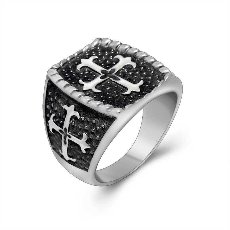 Classic Vintage Stainless Steel Cross Rings For Men 2015 Silver Plated Jewellery Titanium Steel Jewelry Rings for Men(China (Mainland))
