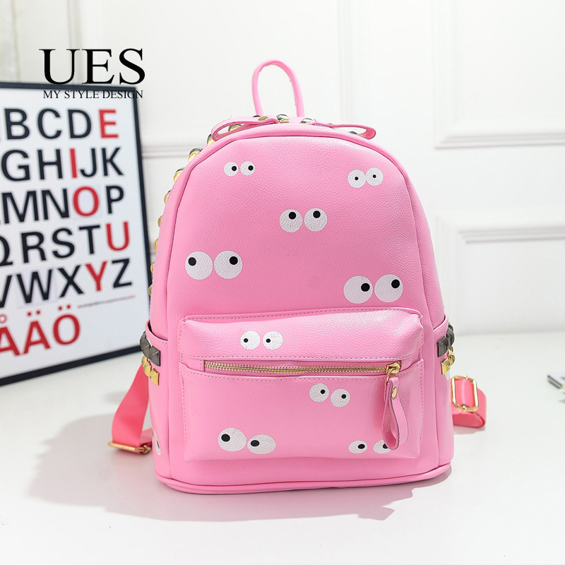 UES Fast Shipping Cute Cartoon Printing Woman Backpack Cheap Pink Lovely Mini Bag for Teenager Outdoor China 2015(China (Mainland))
