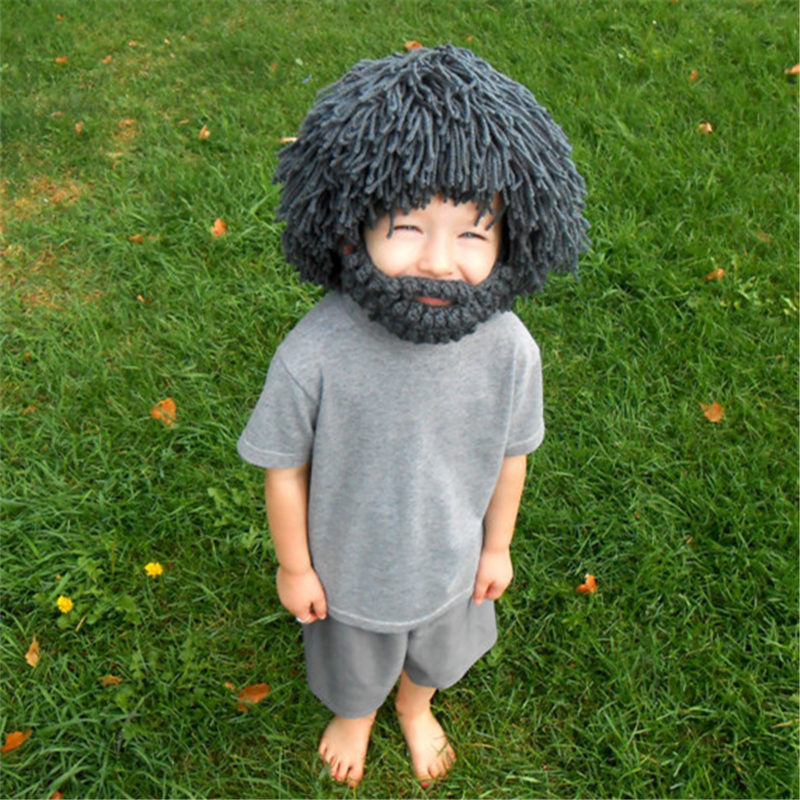 Wig Beard Hats Hobo Mad Scientist Rasta Caveman Handmade Winter Knit Warm Men Women Caps Gift Funny Party Mask Beanies Kid hoax(China (Mainland))