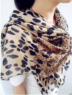 free shipping, Woman sought after worldwide Leopard print Scarf chiffon summe silk women's scarf