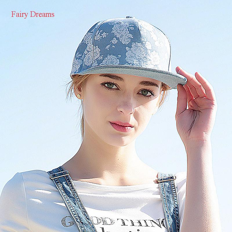 Fairy Dreams Baseball Cap For Women Gorras Casual Graffiti Print Blue Denim Caps Shadow Casquette Hip Hop Hats Adjustable 2017(China (Mainland))