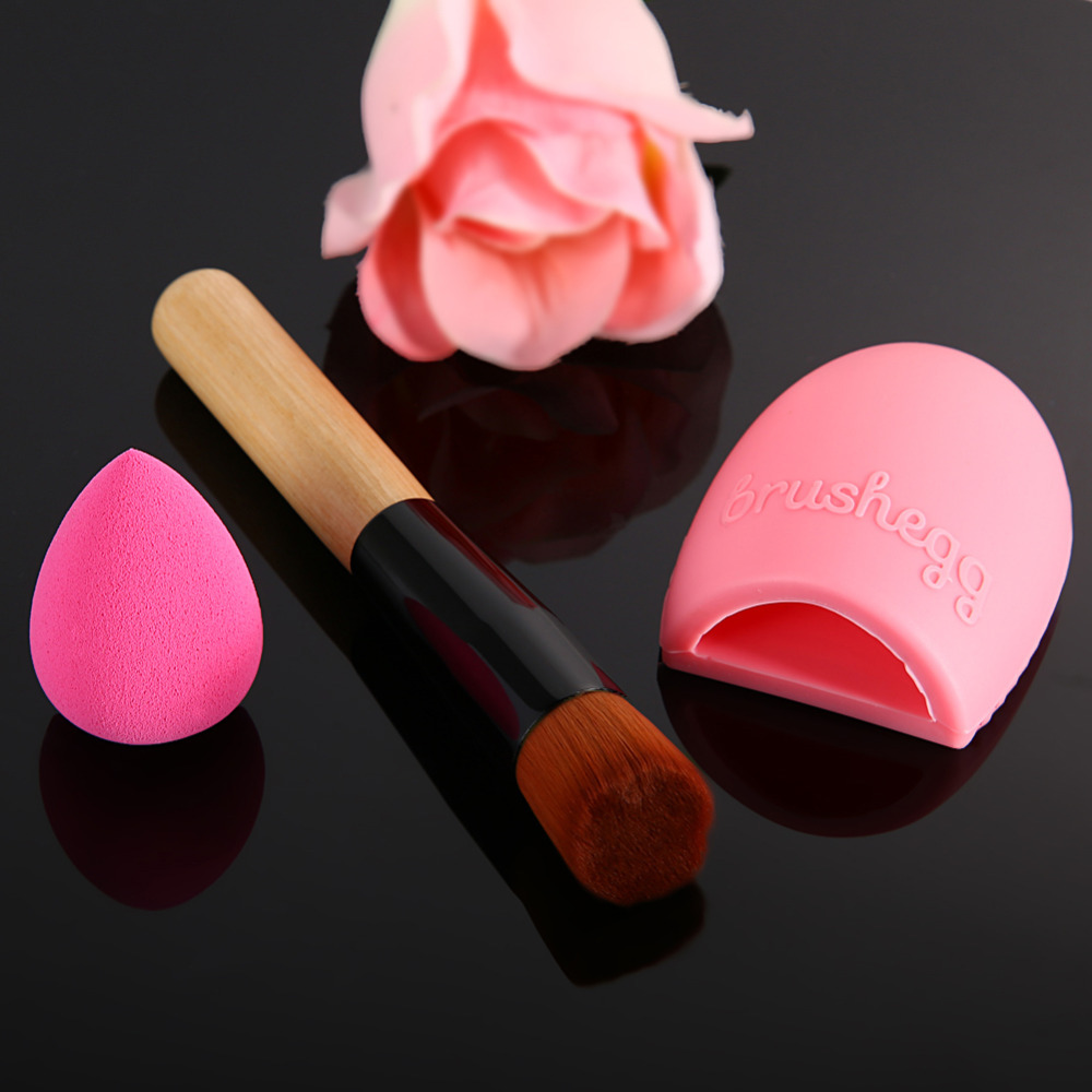 Makeup Brush Synthetic Fiber Wood + Sponge Puff + Brushegg Cleaning Brush Makeup Tool Kit free shipping