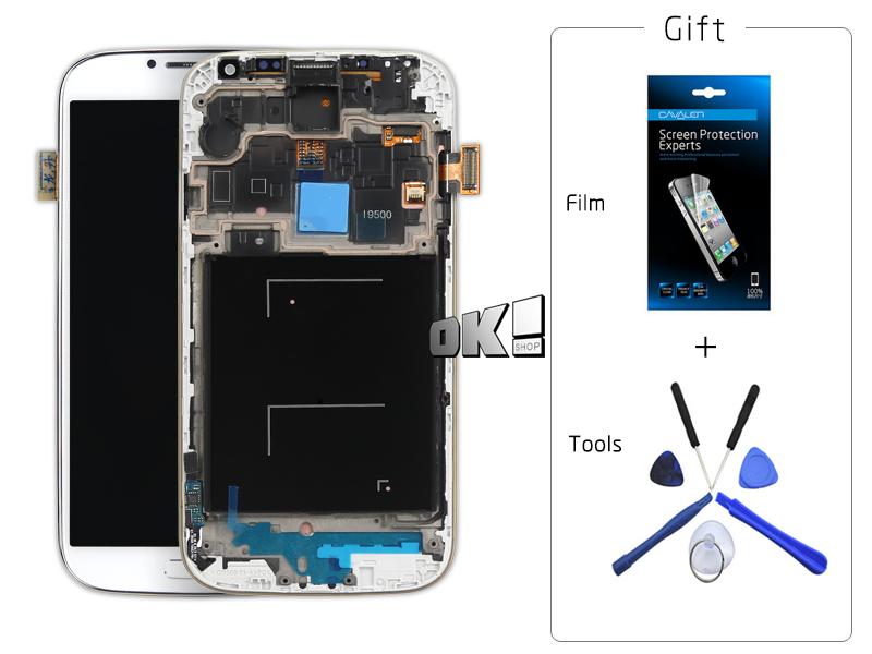 Здесь можно купить  1000% work ok For Samsung For GALAXY S4 I9500 LCD Display + touch screen assembly White and blue with frame    Телефоны и Телекоммуникации