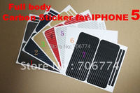 Carbon Fiber Skin Sticker Shield Guard Full Body Cover for New iPhone 5 5th 7 colors 20pcs/lot free shipping