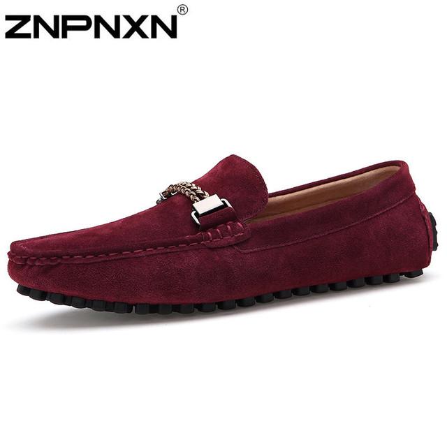 Новый мокасины мужчин бездельников замши из натуральной кожи свободного покроя обувь ...