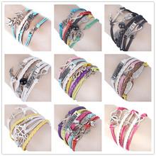 Wholesale Multilayer Braided Bracelets Love Heart Owl Anchor Clover Infinity Bracelet Woven Leather Bracelet & Bangle