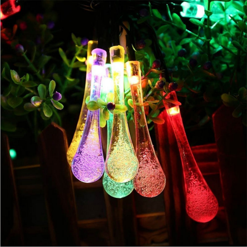 Solar Powered String Lights Water Drop Solar String Fairy Waterproof Lamp for Garden, Patio, Yard, Home, Christmas Tree, Parties(China (Mainland))