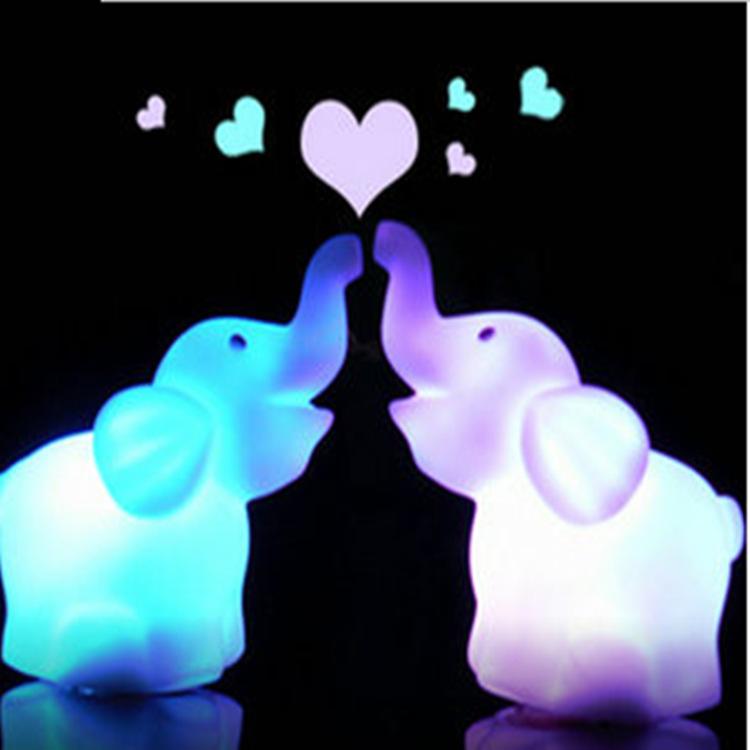 2016 new colorful long nose Baby Elephant colorful Nightlight LED night light atmosphere lamp(China (Mainland))