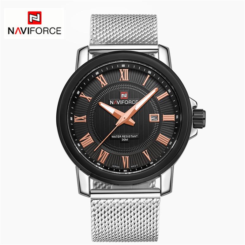 Reloj hombre 2015 Brand Men Military Watches Mesh belt Double Calendar Men Casual Quartz Watch NAVIFORCE 9052 relogio masculino<br><br>Aliexpress