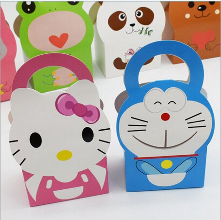 24pcs Wedding Favor Boxes Hello Kitty Doraemon Candy Box For Kids Baby Shower Gift Box And Bags Children Birthday Event Party(China (Mainland))