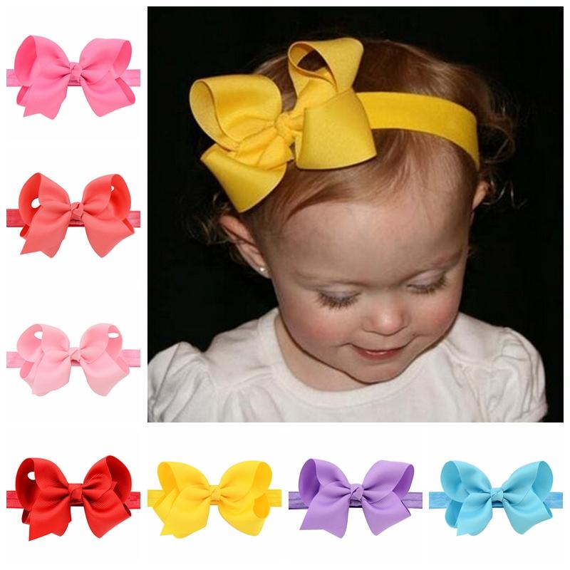 20pcs/lot Infant Girls Headband Head Wraps Elastic Bands Grosgrain Ribbon Bows Tiara Baby Headbands Hair Accessories 608(China (Mainland))