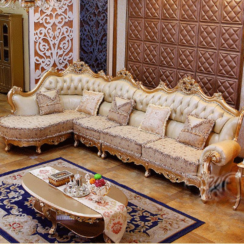 Luxury champagne leather corner sofa wood carving upscale - Corner tables for living room online india ...