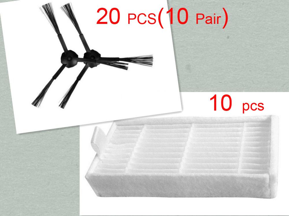 Гаджет  30 pcs/lot 20 side brush(10 pair) &10 HEPA filters for ecovacs CR120 X500 X600 panda X500 filter Promaster Robot 2712 None Бытовая техника