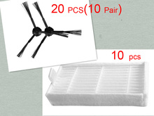 30 pcs/lot 20 side brush(10 pair) &10 HEPA filters for ecovacs CR120 X500 X600 panda filter promaster 2712