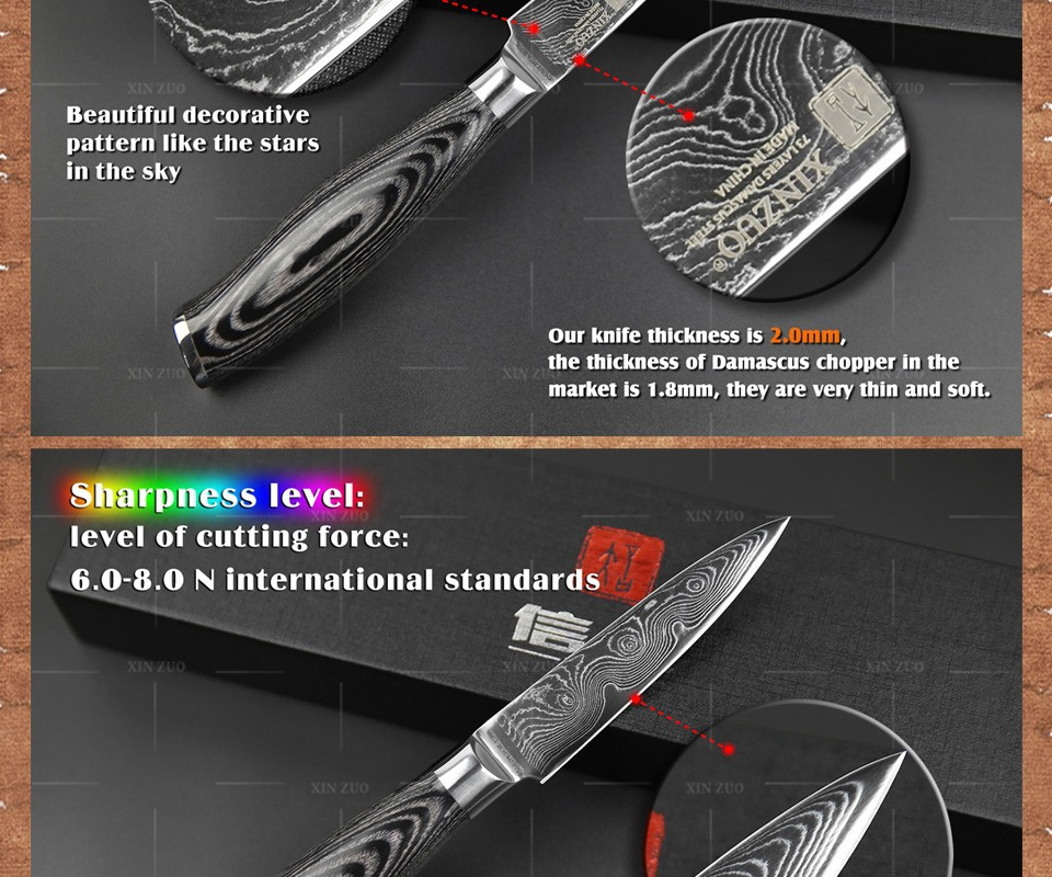 """Buy 3.5"""" inch paring knife 73 layers Japan Damascus kitchen knife sharp peeling fruit knife with Color wood handle free shipping cheap"""
