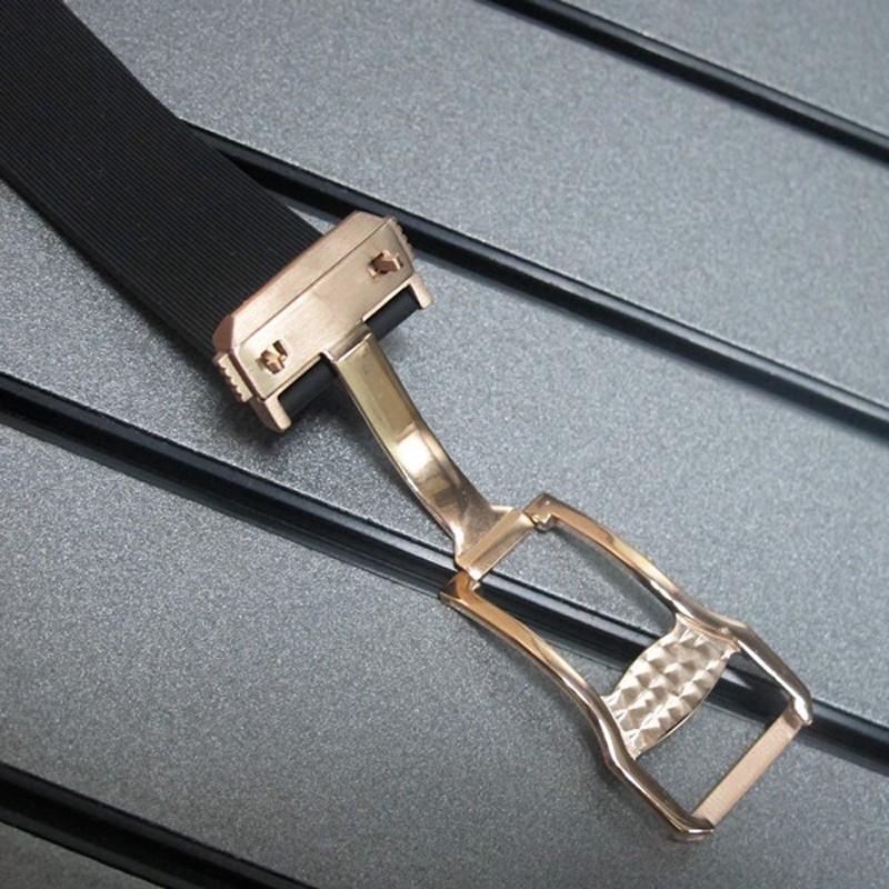 Повседневная 46 мм Parnis Розовое Золото Случае Часы Черный Циферблат Orange Номера Ручным Подзаводом Наручные Часы