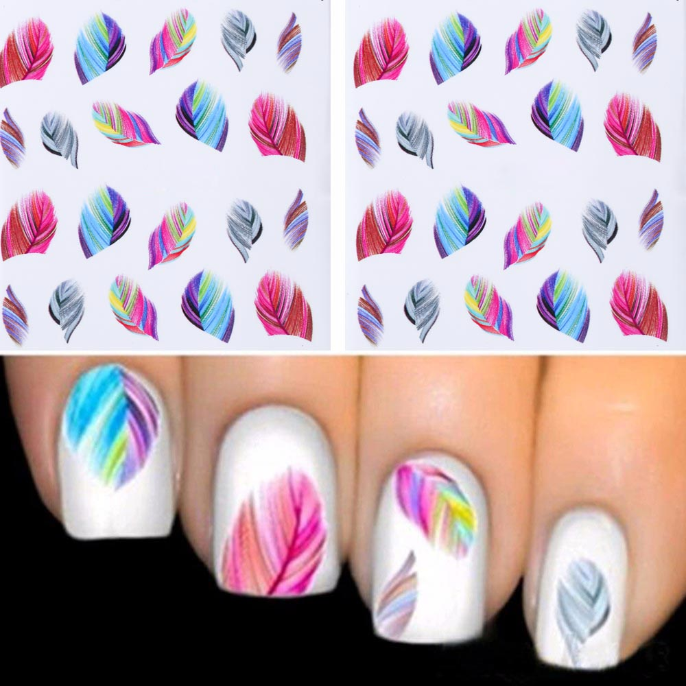 TOMTOSH 1PC ashionable Nail Decorations Art Tips Feather Water Transfers Nail Sticker for Ladies Feather Decals nail art tools(China (Mainland))