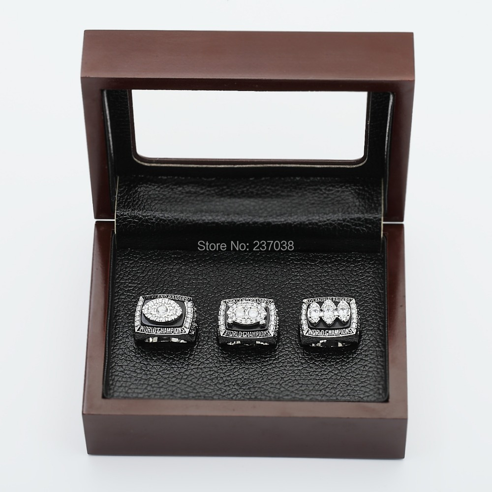 Copper rings !Replica 1976 1980 1983 Oakland Raiders set NFL Super Bowl Football Championship Rings+display wooden box fans - XUAN'S JEWELRY store