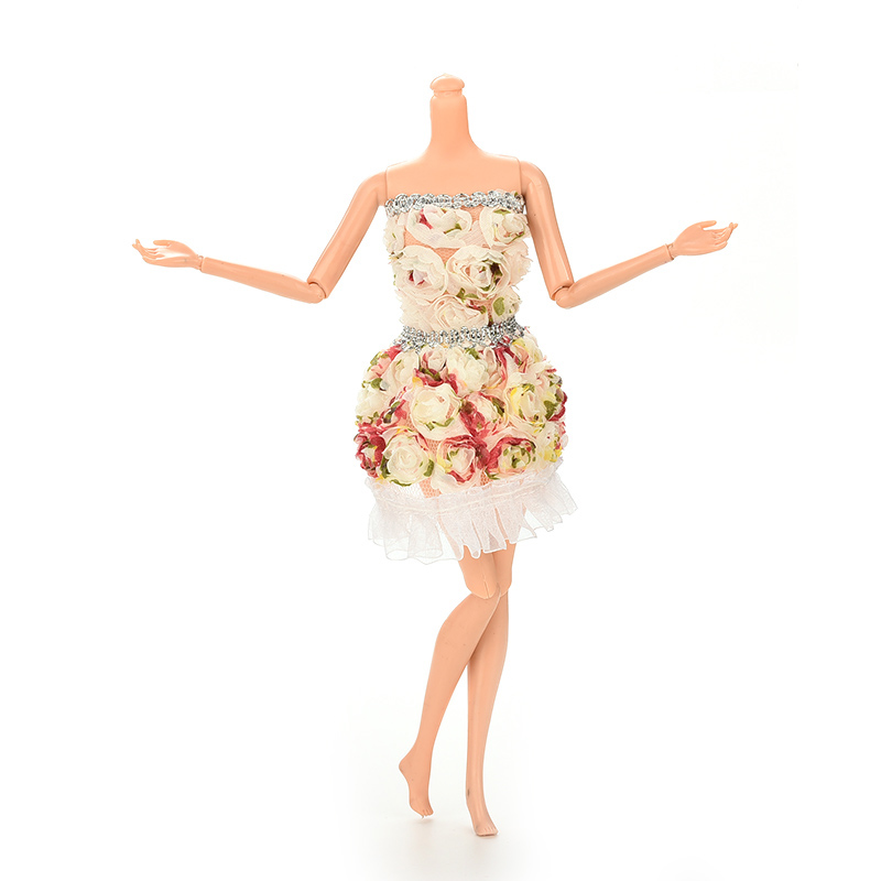 Fashion Flower Doll Dresses Package Hip Skirt For Barbie Doll Handmade Dolls Accessories Clothes(China (Mainland))
