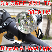 Free Shipping 3800Lumens 3xCREE XML XM-L T6 LED Bicycle Linght Headlamp Head Linght Torch 1×8.4v 6400mAh Battery Pack 1PCS NEW