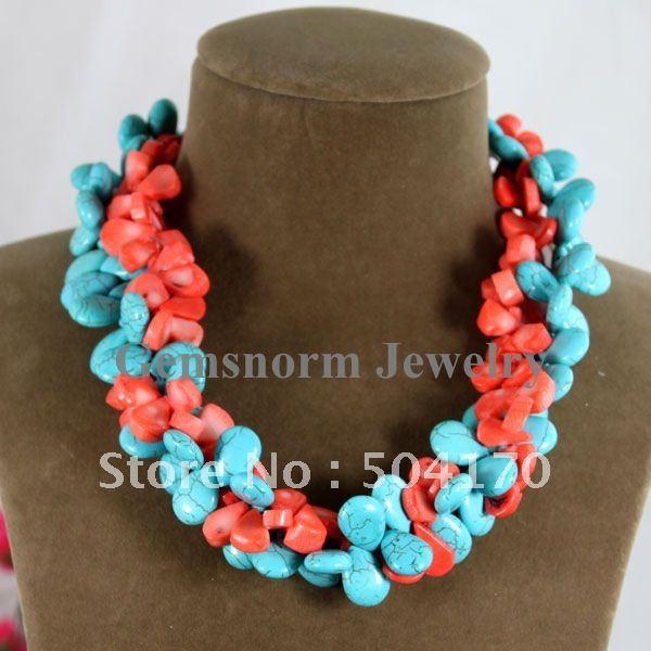 Новинка 13 * 15 мм слеза ожерелье скручены бирюза / коралловые бусины бижутерия бесплатная доставка TN079