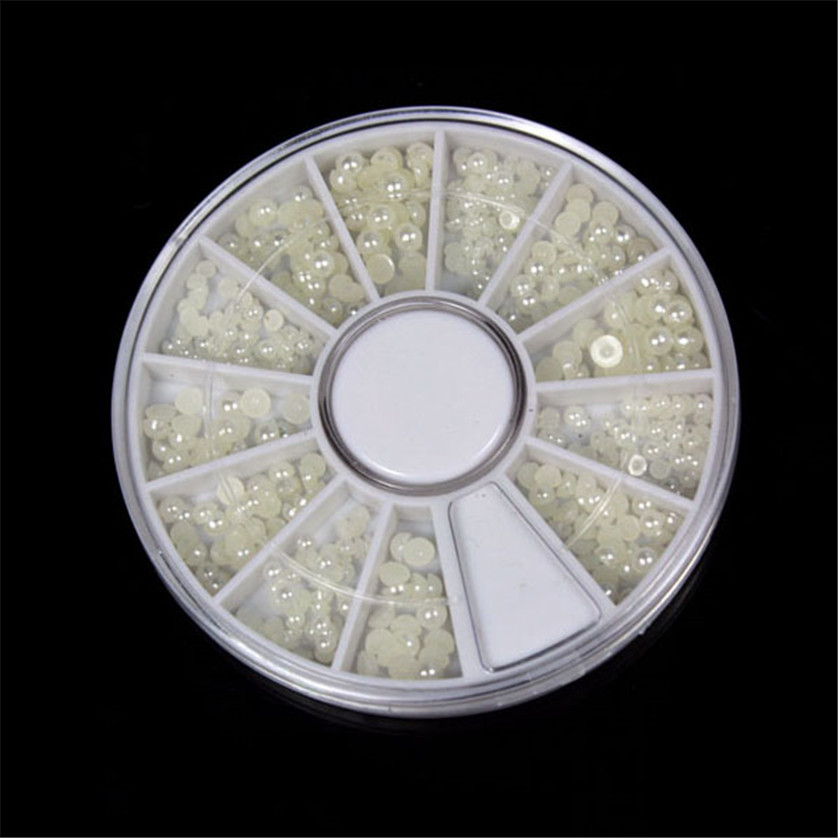 1200pcs Nail Art White Pearl Beads Decoration sizes 3/2/1.5 mm with Wheel Nail Rhinestone and Decoration 12 slot JAN17