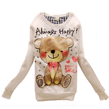 2016 Spring Autumn Cute Cartoon All-match Woman Casual Coat Sweatershirt Hoodies Pullover Women's Jacket Sweet Hoodie Lady Tops(China (Mainland))