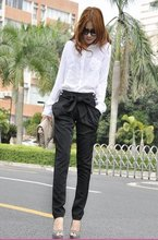 2015 high waist women's Skinny Long Trousers OL casual Bow harem pants plus size Black, Khaki Free shipping 5027(China (Mainland))
