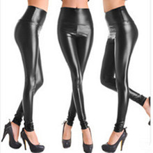 2016 New Women Faux Leather Legging Fashion High-waist Stretch Material Pencil Pants Black Footless Leggings S/M/L/XL LG-108(China (Mainland))