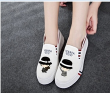 Foot wrapping women's canvas shoes personalized hand-painted shoes girl bear flat grey low graffiti shoes comfortable cow muscle