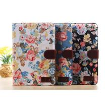 High Quality Fashion Floral Flip Leather Wallet Cover Case For iPad Mini 2 Retina Free Shipping #LR17(China (Mainland))