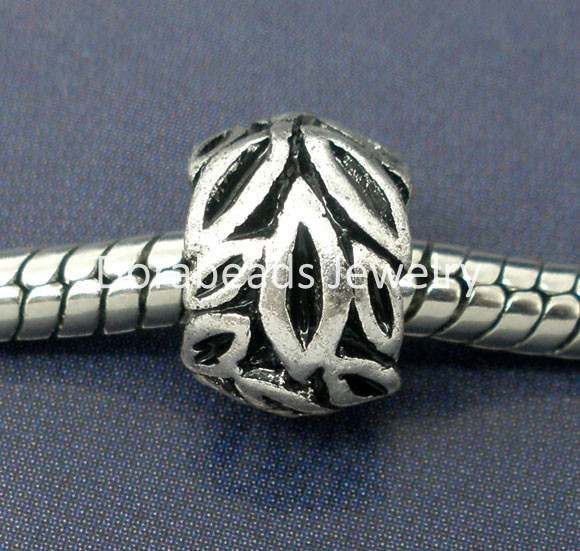 Free Shipping! 20Pcs Silver Tone Leaf Beads Fit Charm Bracelet 9x7mm (B07272)(China (Mainland))
