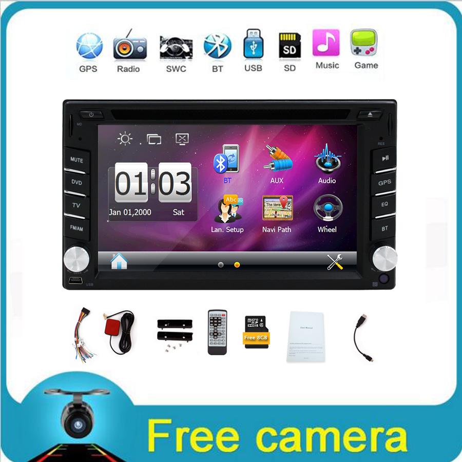 In dash 2 din New universal Car GPS Navigation Radio Car DVD Player Car Headunit Electronics Stereo video+Free GPS Map+Camera(China (Mainland))
