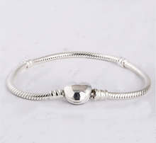 Genuine 925 sterling silver original Fits pandora bracelet 19cm with charms and logo heart clasp clip bracelet snake chain(China (Mainland))