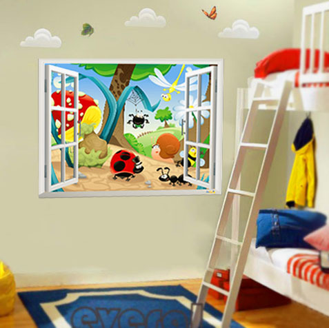 3D Window View Insect Family Wall Art Mural Decal Sticker Home Wallpaper Decoration Decal Kids Boys Girls Art Decor Poster(China (Mainland))