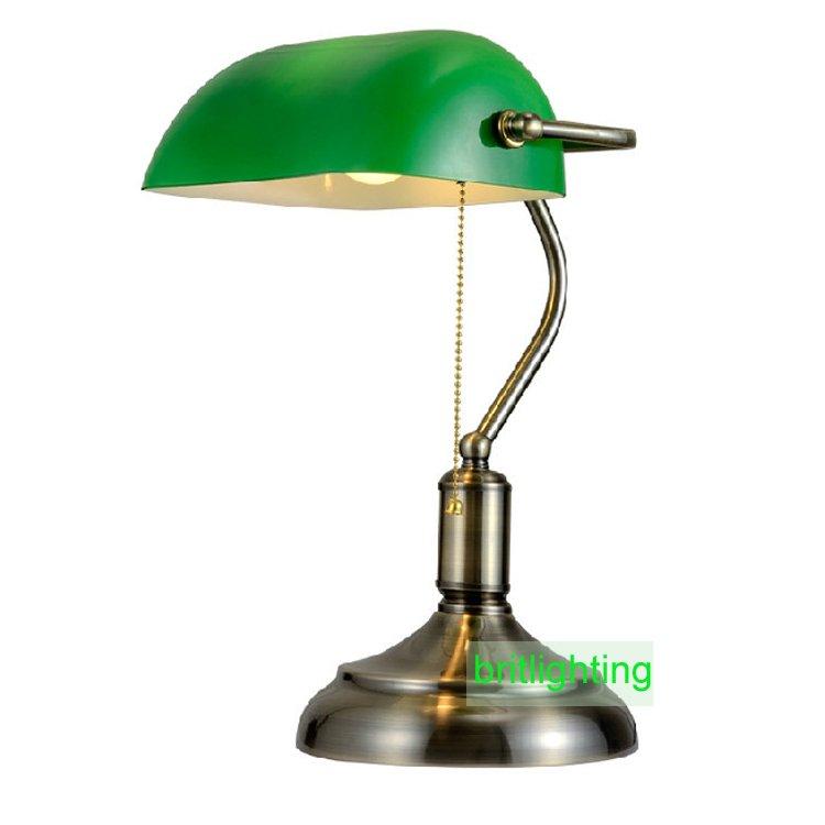 antique bronze desk lamps traditional table lamps reading light green glass Adjustable Task Desk Lamp brass lighting(China (Mainland))