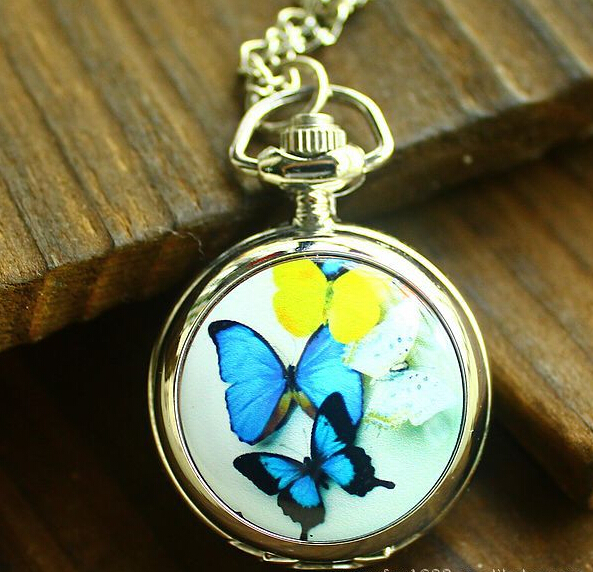 Factory direct sales hot sale fashion leisure business gifts fashion trumpet 4 Blue Enamel Butterfly table pocket watch XHTC012(China (Mainland))